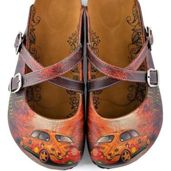 Calceo Shoes Vw Bug Red Orange Floral Car Slipon Mule Usa - Car shoe usa